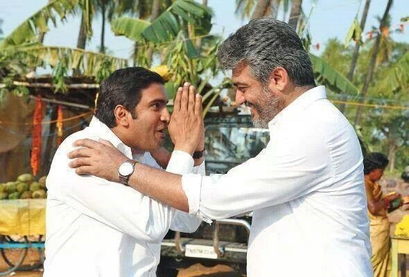 "Ajith and Santhanam in ""Veeram"" (Facebook/Veeram Movie Fans Page)"