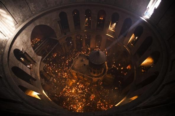 Christian Orthodox Holy Fire ceremony at the Church of the Holy Sepulchre in Jerusalem's Old city.