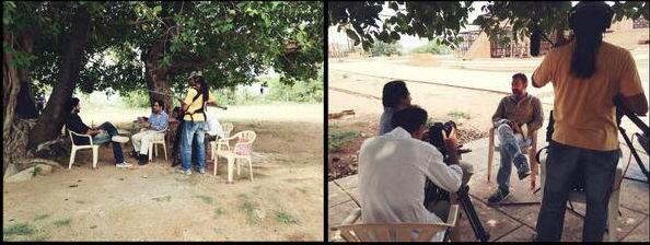 Sanjeev Bhaskar's chat with SS Rajamouli and Rana Daggubati at the Ramoji Film city in Hyderabad on 20 May 2014.