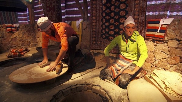 Brodie and Kurt making lavash bread as a task to receive next clue