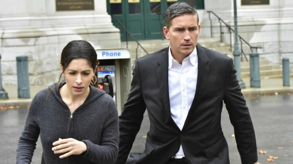 Sarah Shahi and Jim Caviezel as Shaw and Reese in 'Person of Interest'