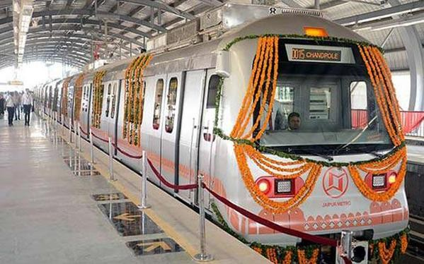 Jaipur Metro,Rajasthan CM Vasundhara Raje flags off Jaipur Metro,Rajasthan CM Vasundhara Raje,Vasundhara Raje,Jaipur Metro to roll out today,Jaipur Metro rolls out today,Jaipur metro to be inaugurated by CM Vasundhara Raje,jaipur metro starting date,jaipu