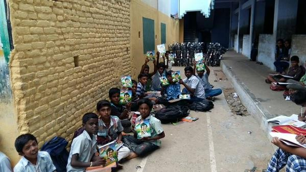 Rajinikanth,Superstar Rajinikanth,Superstar Rajinikanth fans provide free Notebooks for School Children,Superstar Rajinikanth fans,Rajinikanth fans
