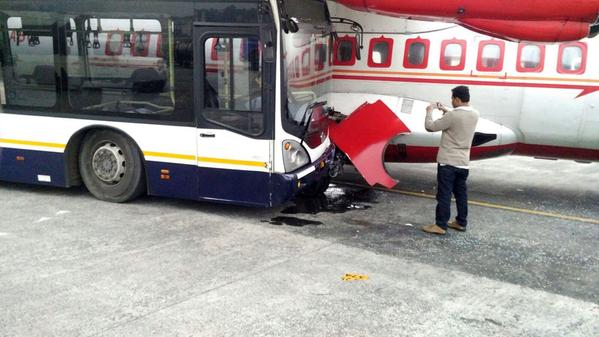 Bus hits parked aircraft,Jet Airways,Bus Crashes Into Air India Plane,Bus Crashes to Air India Plane,Jet Airways shuttle bus