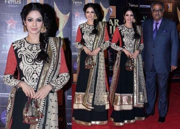 Sridevi along with Husband Boney Kapoor at Star Guild Awards (Twitter)
