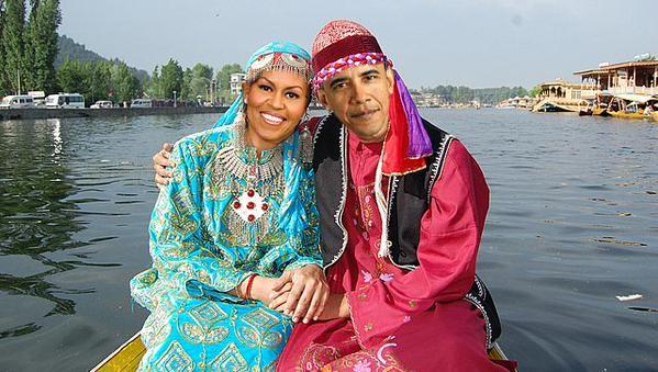 Morphed image of Barack Obama and Michelle Obama