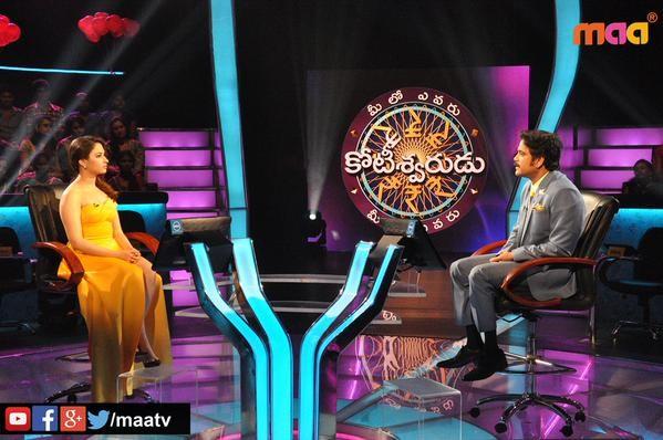 Tamannaah with Nagarjuna on Meelo Evaru Koteeswarudu 2