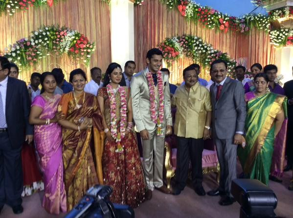 MK Azhagiri at Arulnidhi's Wedding Reception