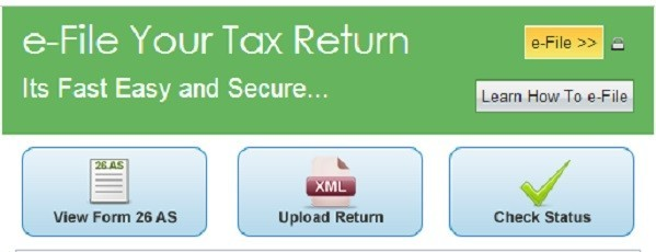 Screenshot from official income tax return filing website