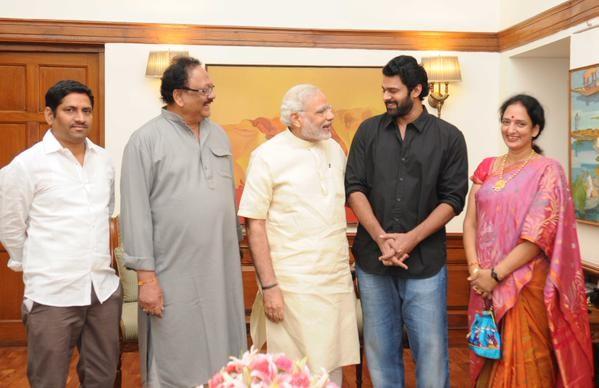 Narendra Modi with actor Prabhas family