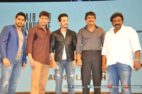 Mahesh Babu is seen with Akhil Akkineni, Nagarjuna, Naga Chaitanya and VV Vinayak at the audio launch of