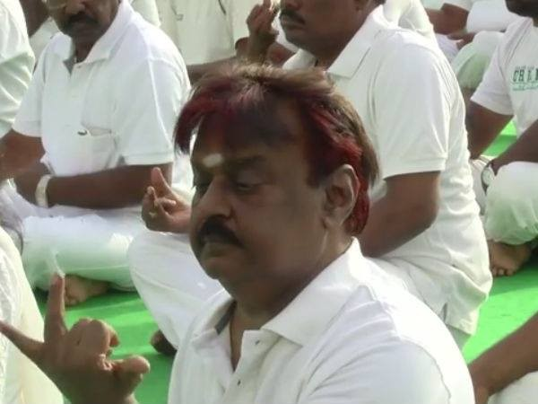 Vijayakanth,Vijayakanth Performing Yoga on a International Yoga Day,DMDK Chief Vijayakanth,International Yoga Day,Vijayakanth doing Yoga,21 June International Yoga Day,International Yoga Day 2015,2015 International Yoga Day