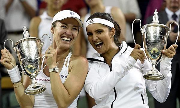 Sania Mirza,Martina Hingis,Sania Mirza-Martina Hingis,Wimbledon 2015,Sania Mirza-Martina Hingis win women's doubles title,Sania Mirza creates history,Martina Hingis and Sania Mirza,women's doubles title