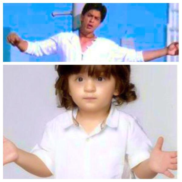AbRam replicates his father Shah Rukh Khan,AbRam replicates Shah Rukh Khan,AbRam,Shah Rukh Khan,Shahrukh Khan,Shah Rukh Khan son AbRam,AbRam latest pics,AbRam latest images,AbRam latest stills,AbRam latest pictures