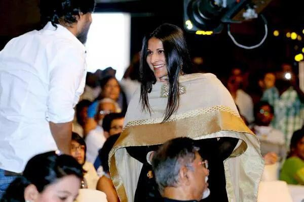 Vijay's wife Sangeetha at Puli Music Release,Sangeetha at Puli Music Release,Sangeetha vijay at Puli Music Release,Puli Music Release,Puli Music,Puli audio launch,Puli Music launch,Sangeetha,Sangeetha vijay