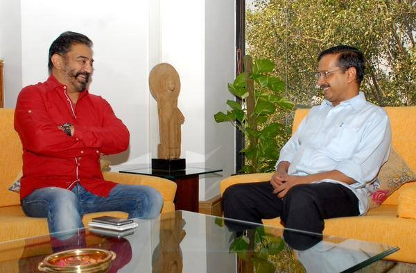 Kamal Hassan,actor Kamal Hassan,Delhi CM Arvind Kejriwal,Arvind Kejriwal,Kamal Hassan with Arvind Kejriwal