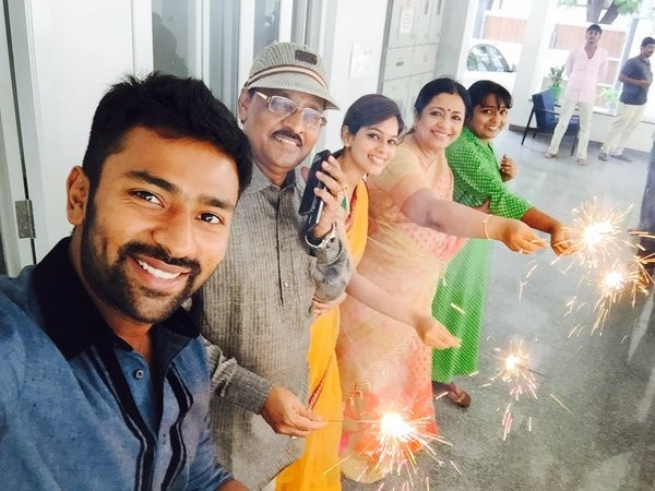 south indian actor shanthanu bhagyaraj and keerthi celebrate thala