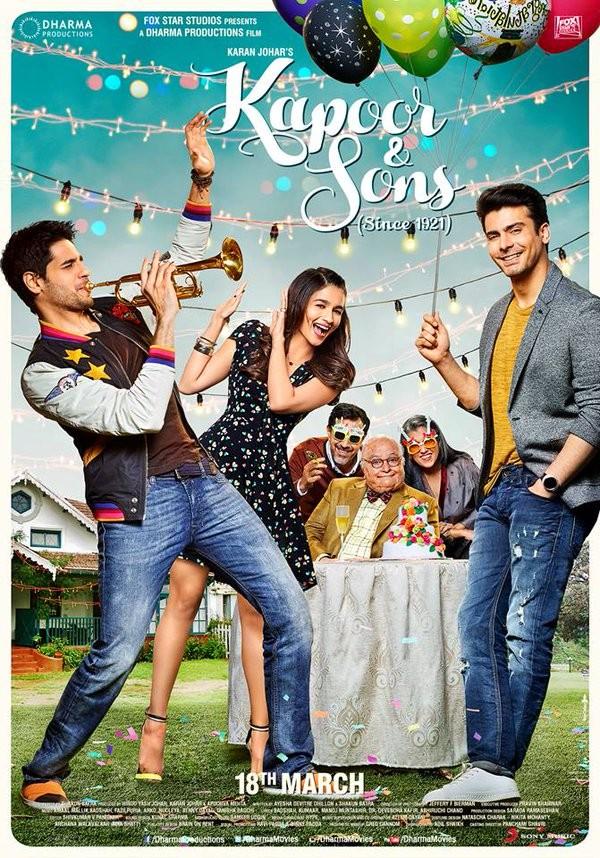 Kapoor and Sons first look poster,Kapoor and Sons first look,Kapoor and Sons poster,Sidharth Malhotra,Alia Bhatt,Fawad Khan,Rishi Kapoor,Sanjay Dutt,Amrita Puri