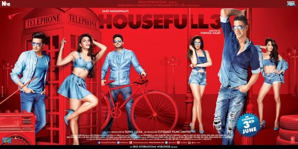 Housefull 3 first look revealed,Housefull 3 first look,Housefull 3,housefull 3 first look posters,Housefull 3 poster,Akshay Kumar,Abhishek Bachchan,Riteish Deshmukh,Jacqueline Fernandez,Nargis Fakhri