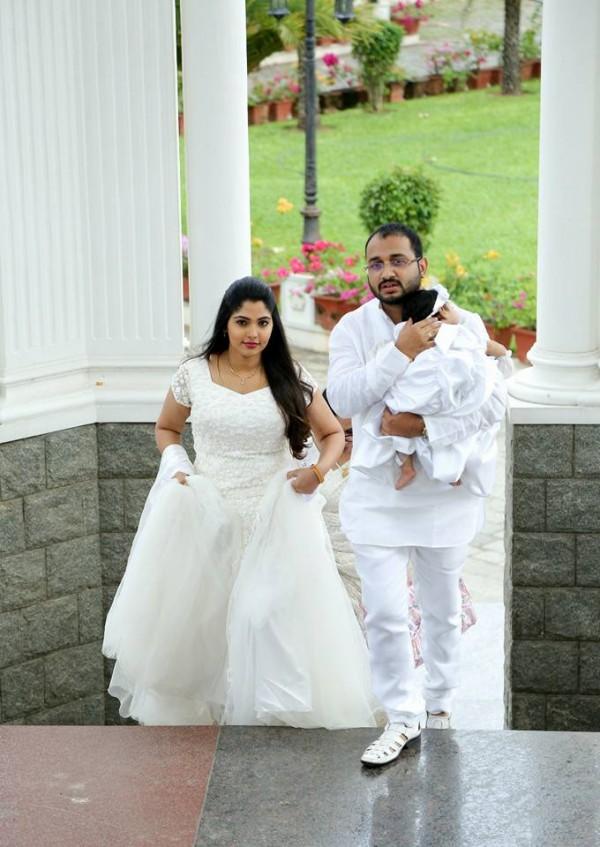 Actress Muktha S Baby Kiara Aka Kanmani Baptism Pics
