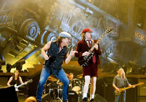AC/DC performing at a venue with Phil Rudds on drums.