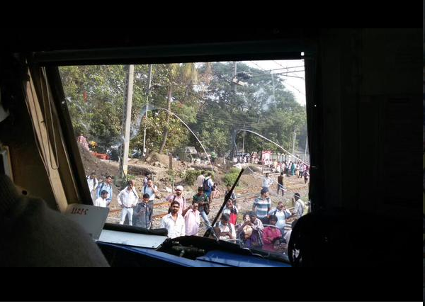 Angry commuters pelted stones and destroyed public property