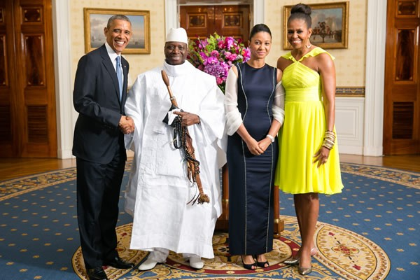 President Barack Obama and First Lady Michelle Obama with Gambian President Yahya Jammeh and wife at the White House on 5 August, 2014.