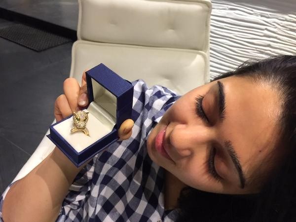 Charmme Kaur shows diamond ring