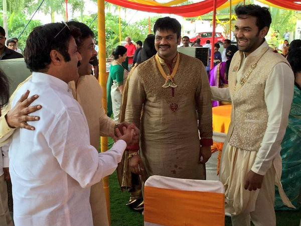 Chiranjeevi, Balakrishna at Manchu Manoj's pre-wedding party
