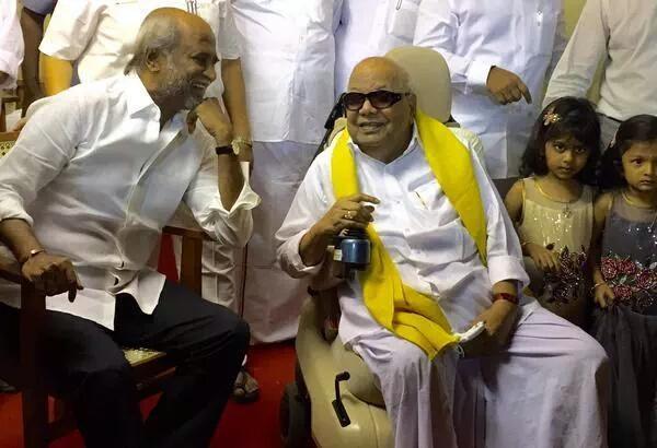 Rajinikanth with Karunanidhi at Arulnidhi's Wedding Reception