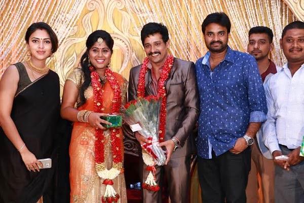 Amala Paul, AL Vijay at Vidharth-Gayathri Devi Wedding Reception.