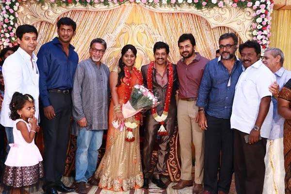 Vshal, Nasser, Karthi at Vidharth-Gayathri Devi Wedding Reception.