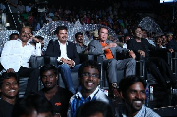 Arnold with Rajinikanth & Shankar at 'I' audio launch