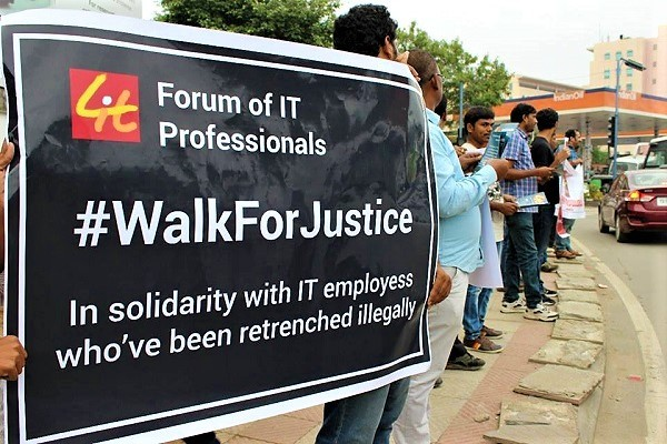 Protest against mass IT layoffs in Hyderabad