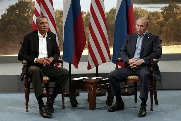 President Barack Obama meets with Russian President Vladimir Putin during the G-8 Summit at Lough Erne in Enniskillen