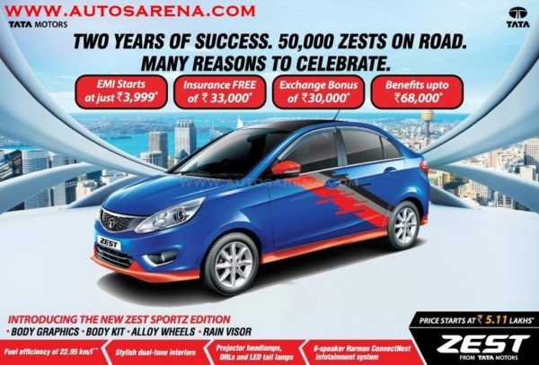 Tata Zest Sportz limited edition launched