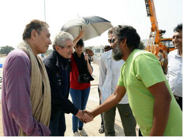 Oscar winning French director Claude Lelouch meets SS Rajamouli on the set of