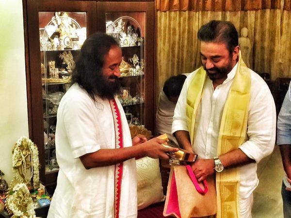 Kamal Haasan Meets Spiritual Guru Sri Sri Ravi Shankar