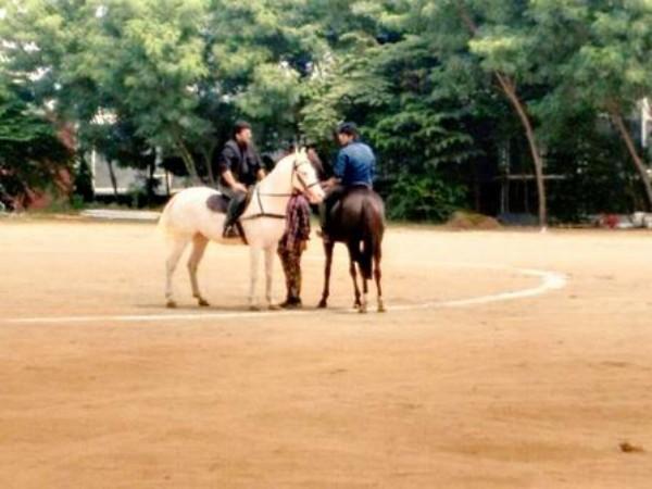 Chiranjeevi Ram Charan riding horse on Bruce Lee set