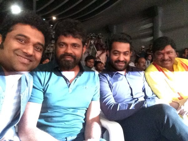 Devi Sri Prasad with director Sukumar, Junior NTR and Rajendra Prasad at the launch of Nannaku Prematho title song