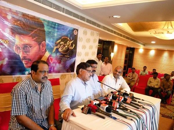Allu Aravind and Minister Ghanta Srinivasa Rao at Sarrainodu press meet