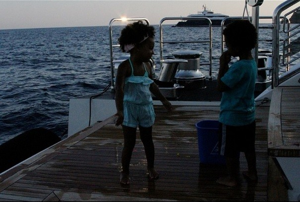 Blue Ivy cruising with a friend