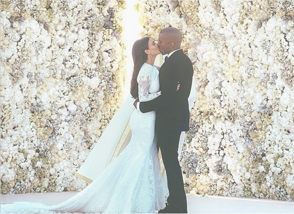 Kim Kardashian and Kanye West Wedding kiss