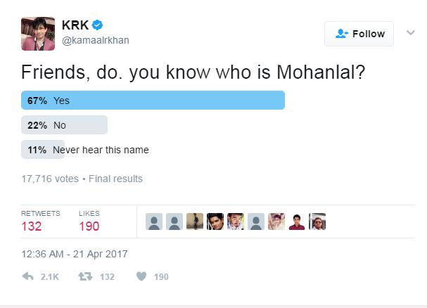 KRK, kamaal r khan, mohanlal, krk poll on mohanlal, mohanlal chotta bheem