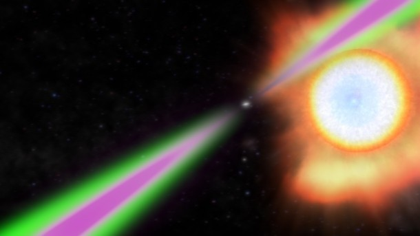 Spinning 390 times a second, PSR J1311−3430 periodically swings its radio (green) and gamma-ray (magenta) beams past Earth in this artist's concept. The pulsar heats the facing side of its stellar partner to temperatures twice as hot as the sun'