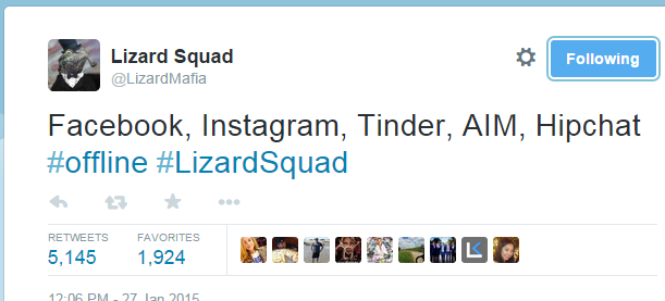 The Facebook hack claim tweet by Lizard Squad