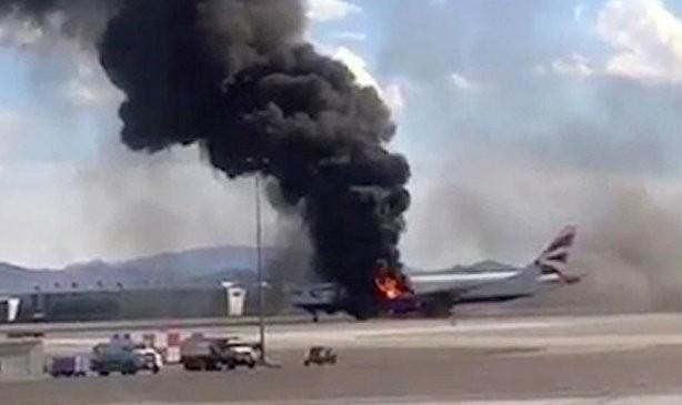 British Airways Las Vegas flight on fire