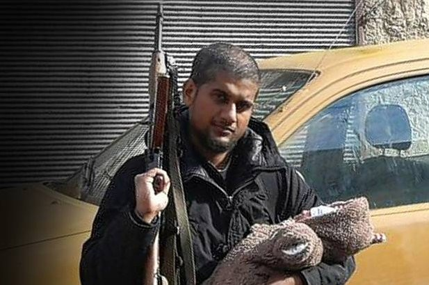 An Indian national, Siddhartha Dhar, also known as Abu Rumaysah, who fled to Syria from UK to join poses with his baby.
