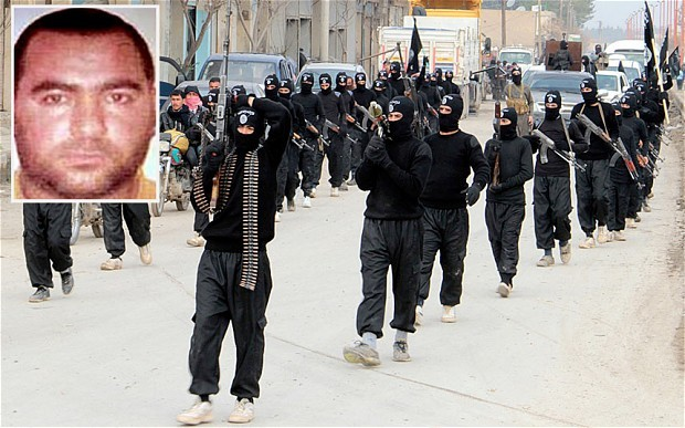 Abu Bakr al-Baghdadi (inset) and fighters of the Islamic State