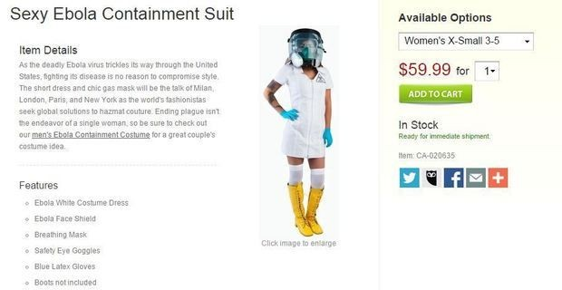 "Halloween 2014 Shocker: An online shop is selling a ""Sexy Ebola Containment Suit"" costume."